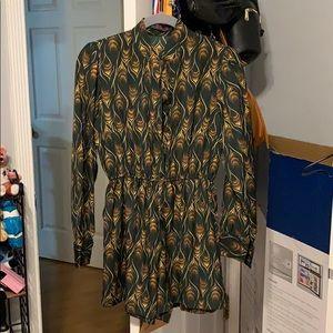 Peacock Patterned long sleeve Jumpsuit